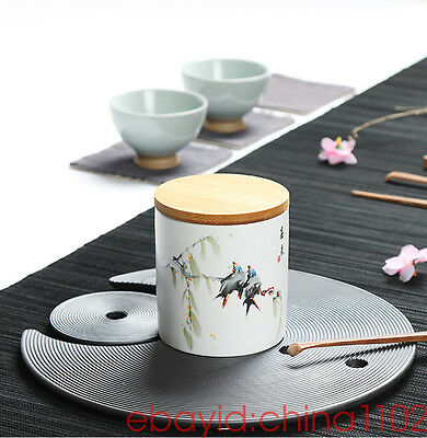 "Hand-painted tea cans Ceramic tea caddy Sealed jar Food cans Sugar Bowl ""春意"""