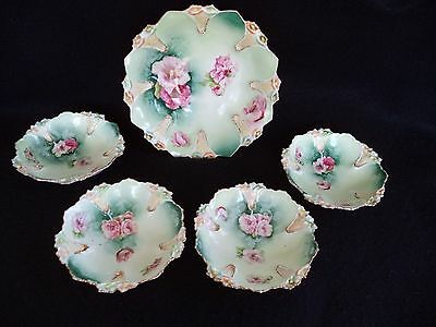 RS Prussia berry set master bowl plus 4 small bowls RSP mold 90 pink poppies