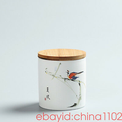 "Hand-painted tea cans Ceramic tea caddy Sealed jar Food cans Sugar Bowl ""夏风"""