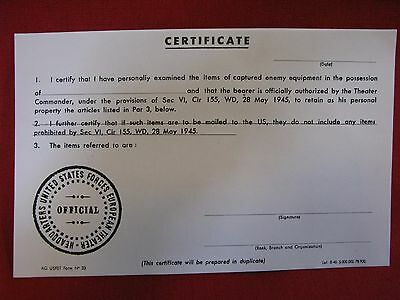 WW2 BLANK U.S. ARMY CAPTURE PAPER / CERTIFICATE, MINT CONDITION No Reserve