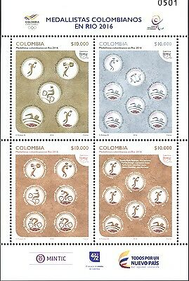 O) 2016 Colombia, America Upaep, Value 10.000, Olympics Homage To Colombian Meda