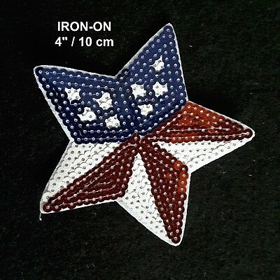 USA Flag Star Sequins Embroidered Iron-on Emblem Patriotic Badge Patch American