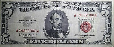 $ 5 United States Note - Series 1963 - A 19202308 A - Red Seal Birthday Note