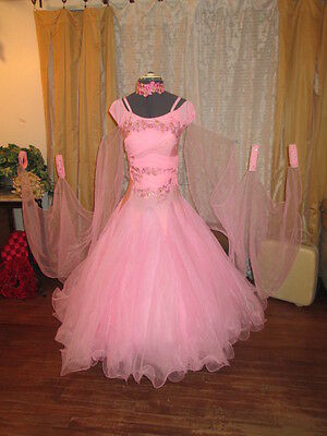 NWT Ballroom two step rumba competition dance dress costume stretch organza-M/L