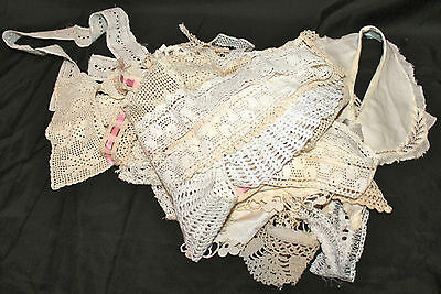 Lot Of Antique  Hand Made  Crochet Lace Collars Bodice Cuffs Trimmings & More