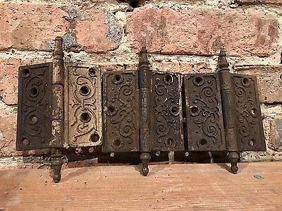 3 Victorian Eastlake 4x4 Ornate Door Hinges Architectural Salvage 1880s Hardware