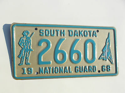 1968 South Dakota National Gaurd license plate tag #2660 with soldier graphics