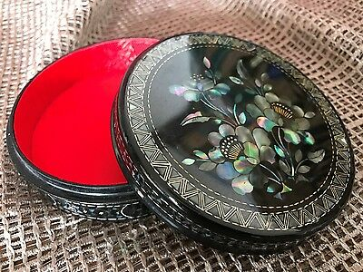 Old Chinese Inlaid Black Lacquered Vanity Box …beautiful Mother of pearl inlaid