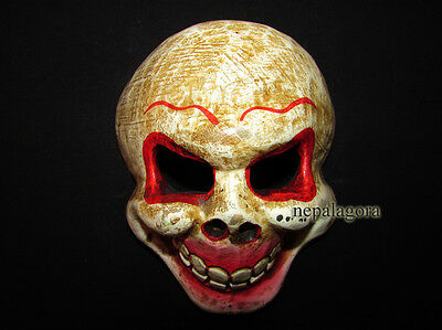 M08 Hand Crafted face carved wood skull Mask gift decorative wall Hanging Nepal