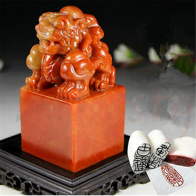 Chinese Shoushan Ancient Beast Carving Seal Sculpture Name Stone JadeDIY Gift