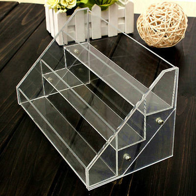 3 Tiers Acrylic Clear Nail Polish Cosmetic Display Case Stand Rack Organizer
