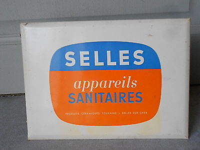 Vintage 1960's French Advert sanitary Plaque SIGN : french fabric SELLES