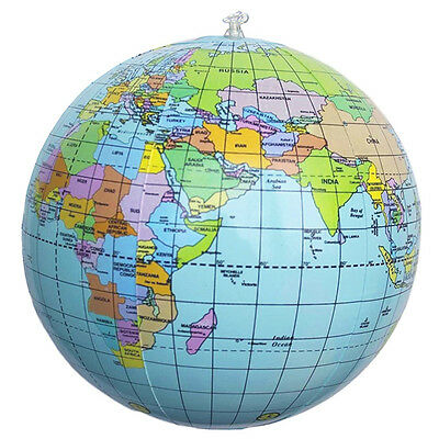 Inflatable World Globe Earth Map Geography Teacher Aid Ball Education Toy 16''