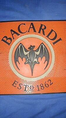 Rare 2001 Bacardi Black/Red/Gold Bar Spill Mat 16 3/4 inch Square Man Cave