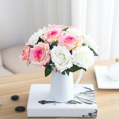 Artificial Silk Rose Flower Bouquet Wedding Home Decor Flowers Arrangement