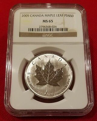 2005 Canada Palladium Maple Leaf PD$50 MS 65 NGC CERTIFIED