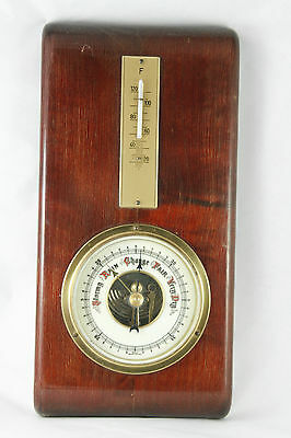 Vintage Barometer Porcelain Dial Made in West Germany Functional Wood Mounted