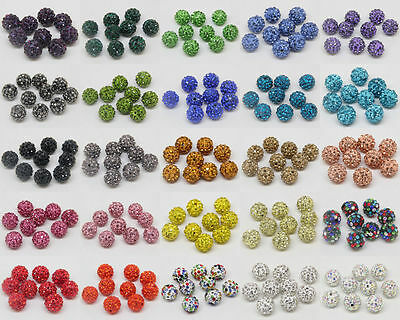 10Pcs……Quality Czech Crystal Rhinestones Pave Clay Round Disco Ball Spacer Beads