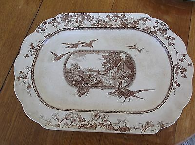 "antique AESTHETIC BROWN TRANSFERWARE EXTRA LARGE 19"" PLATTER 1860s WOOD LAND"