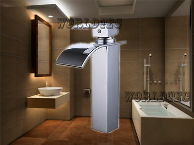 Tall Waterfall Spout Single Handle Bathroom Sink Vessel Faucet Basin Mixer Tap O