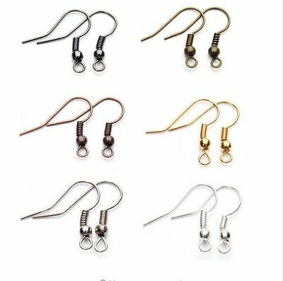 Free Shipping 500pcs EARRING HOOK COIL EAR WIRE FOR JEWELRY Making Findings 19mm