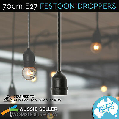 NEW 70cm Black  Festoon Dropper E27 Socket BUY 1 GET 1 FREE
