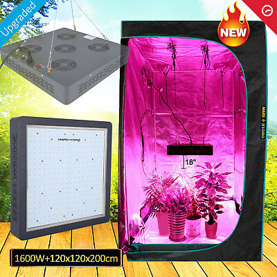 Mars II 1600W LED Grow Light Veg Flower+120x120x200 cm Indoor Grow Tent Room Hut