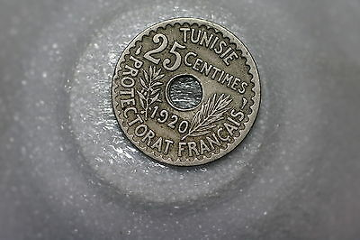 Tunisia 25 Centimes 1920 Nice Details A53 #2881