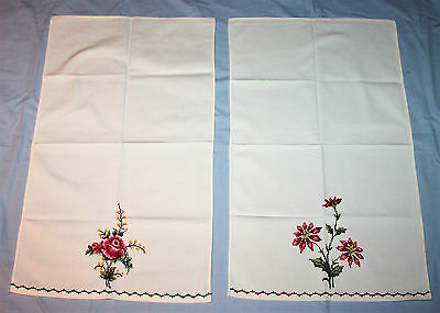 2 Vintage Embroidered Cross Stitch Tray Cloths
