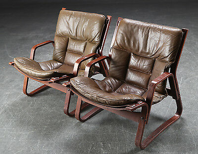 VINTAGE RETRO DANISH LEATHER LOUNGE/EASY CHAIR SET OF 2 1960-70s