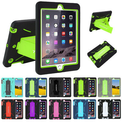 Shockproof Heavy Duty Rubber With Hard Stand Case Cover For iPad 4 3 2 Air&Mini