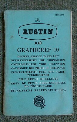Austin A40 Graphoref 10 Service Parts List in multiple languages