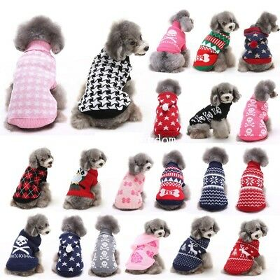 Pet Small Dog Puppy Cat Warm Clothes Coats Apparel Jumper Sweater Knitwear New