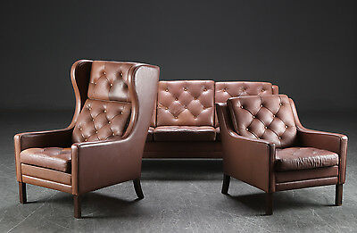 Vintage Retro Danish Mogens Hansen Buttoned Leather 3 Seater Sofa And Chair Set