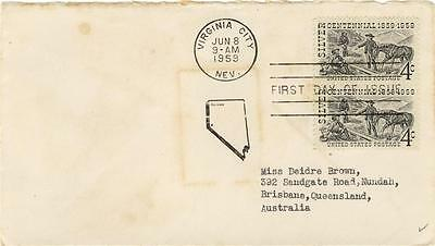 USA First Day of Issue 4c Discovery of Silver Postk Virginia City AUSTRALIA 1959