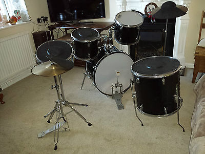 Used Zildjian Acoustic Drum Kit, Crash Cymbal and Silencers.