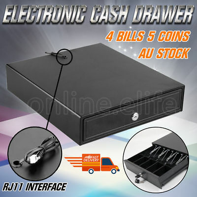 Wikidea Electronic Cash Drawer Box Cash 4 Bills 5 Coins Register POS Shop RJ11