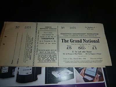 set of raffle tickets for the grand national 1946
