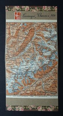 Antique map, Chamonix, Mont-Blanc, FRANCE