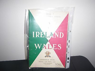 Ireland V Wales  Rugby Programme 1958
