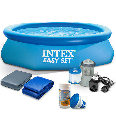 7in1 Set Gartenpool 305x76 cm Quick Up Pool mit Filterpumpe Zubehör INTEX 28120