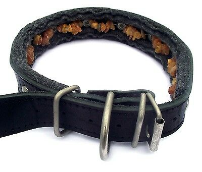 Baltic amber & leather collar for dog - natural tick and flea repellent