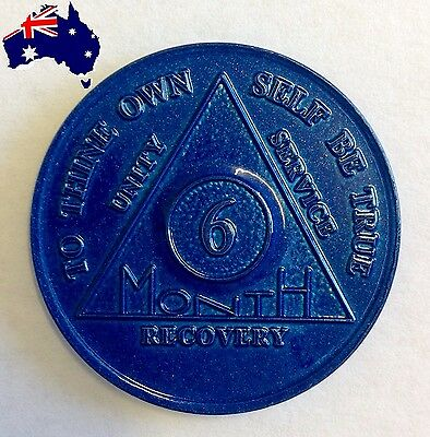 AA alcoholics anonymous blue 6 months recovery sobriety coin token medallion New