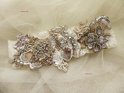 Ivory Wedding Garter Florence Lace Vintage Ivory Silver Beaded Bridal Gift