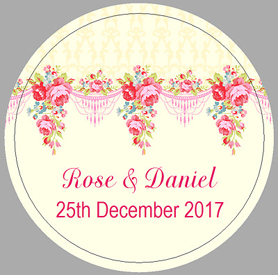 24 x 40mm personalised stickers round labels vintage roses pink lemon wedding