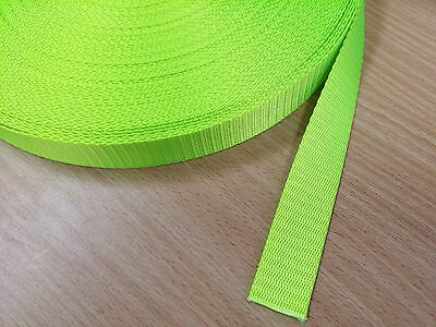 25mm Lime / Fluro Green HIGH QUALITY Webbing Strapping 1-25 Metre Lengths