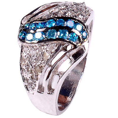 0.84, ct REAL RAW WHITE NATURAL DIAMOND .925 STERLING SILVER RING SIZE 7