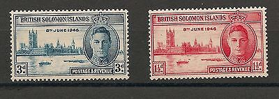 Set of (2) mint hinged British Solomon Islands Victory 1946 stamps MH (V2)