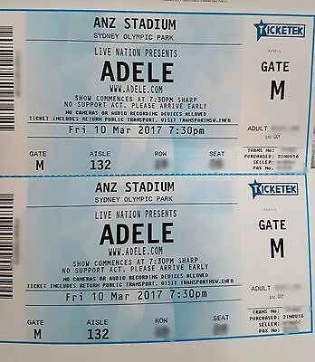 Adele Sydney Concert Tickets - Fri 10th March - 2 x A Reserve Seats