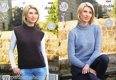 Ladies Double Knit Easy Knit Sweater & Top Knitting Pattern 28 - 46 Inch